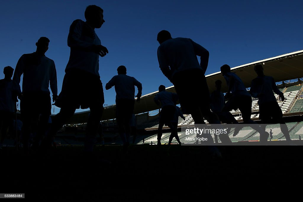 A general view is seen as the players warm up during a Sydney FC training session at Allianz Stadium on May 24, 2016 in Sydney, Australia.