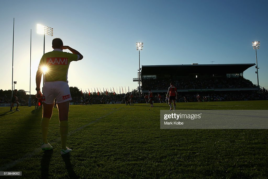 A general view is seen as the touch judge watches on during the round one NRL match between the Wests Tigers and the New Zealand Warriors at...