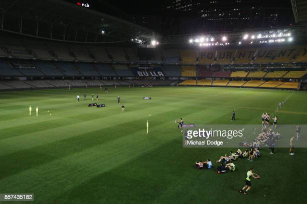 A general view is seen as the under 18 boys participate during the AFLW Draft Combine at Etihad Stadium on October 4 2017 in Melbourne Australia