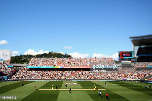A general view is seen as Trent Boult of New Zealand bowls Glenn Maxwell of Australia during the 2015 ICC Cricket World Cup match between Australia...