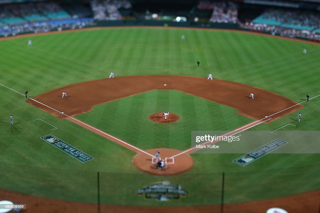 A general view is seen as Wade Miley of the Diamondbacks pitches during the opening match of the MLB season between the Los Angeles Dodgers and the Arizona Diamondbacks at Sydney Cricket Ground on March 22, 2014 in Sydney, Australia.