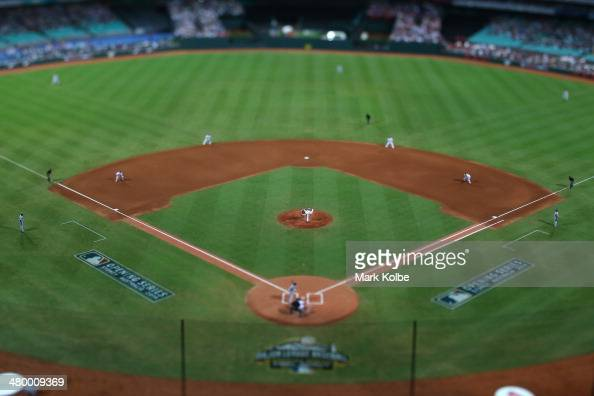 A general view is seen as Wade Miley of the Diamondbacks pitches during the opening match of the MLB season between the Los Angeles Dodgers and the...