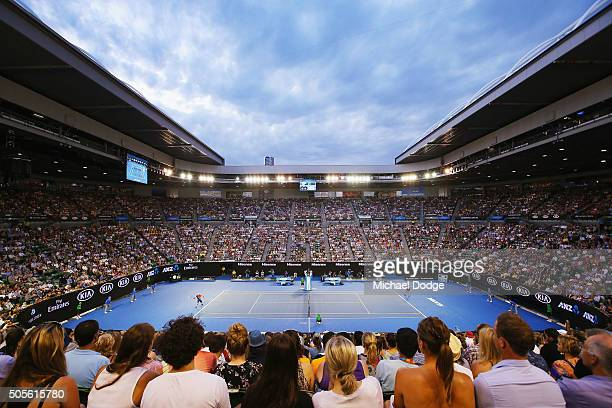 A general view is seen at Rod Laver Arena during the first round match of Lleyton Hewitt of Australia playing against James Duckworth during day two...