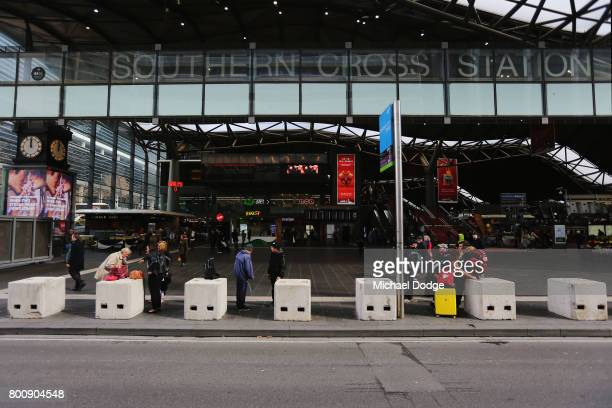 A general view is seen at Southern Cross Station where concrete blocks are situated on June 26 2017 in Melbourne Australia The large concrete blocks...
