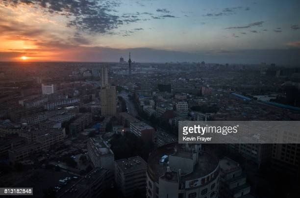 A general view is seen at sunrise on June 27 2017 of the old town of Kashgar in the far western Xinjiang province China Kashgar has long been...