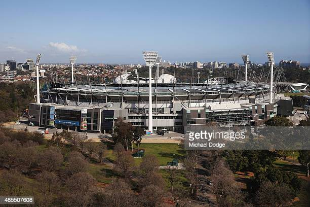 A general view is seen before the round 22 AFL match between the Geelong Cats and the Collingwood Magpies at Melbourne Cricket Ground on August 28...