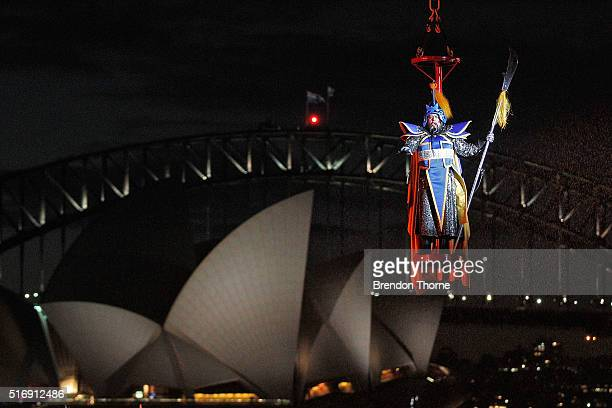 A general view is seen during a media preview of Handa Opera's 2016 production 'Turandot' at Sydney Harbour on March 22 2016 in Sydney Australia