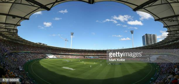 A general view is seen during day one of the First Test Match of the 2017/18 Ashes Series between Australia and England at The Gabba on November 23...