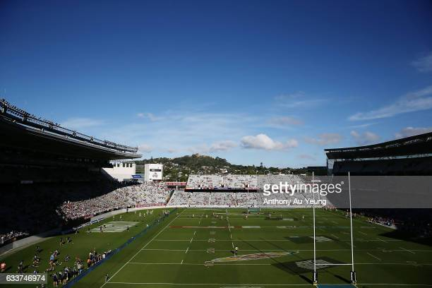 A general view is seen during the 2017 Auckland Nines at Eden Park on February 4 2017 in Auckland New Zealand