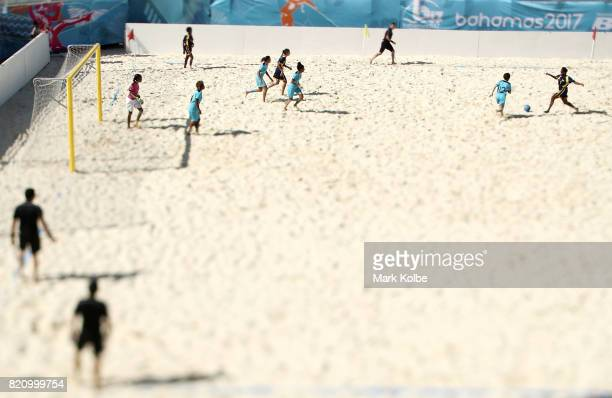 A general view is seen during the girl's beach soccer bronze medal final match between the Bahamas and Turks Caicos Islands on day 5 of the 2017...