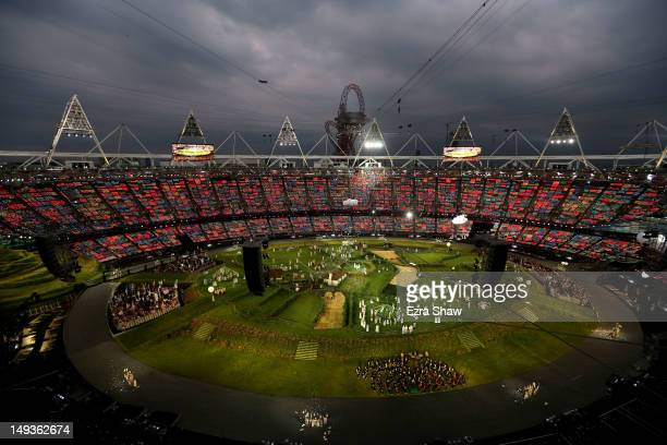 A general view is seen during the Opening Ceremony of the London 2012 Olympic Games at the Olympic Stadium on July 27 2012 in London England