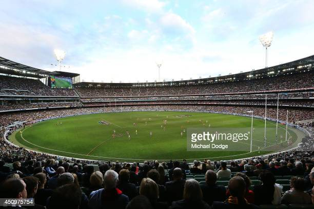 A general view is seen during the round 14 AFL match between the Hawthorn Hawks and the Collingwood Magpies at Melbourne Cricket Ground on June 21...