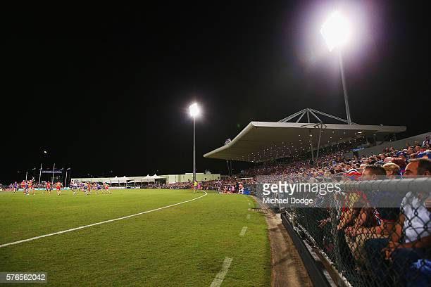 A general view is seen during the round 17 AFL match between the Western Bulldogs and the Gold Coast Suns at Cazaly's Stadium on July 16 2016 in...