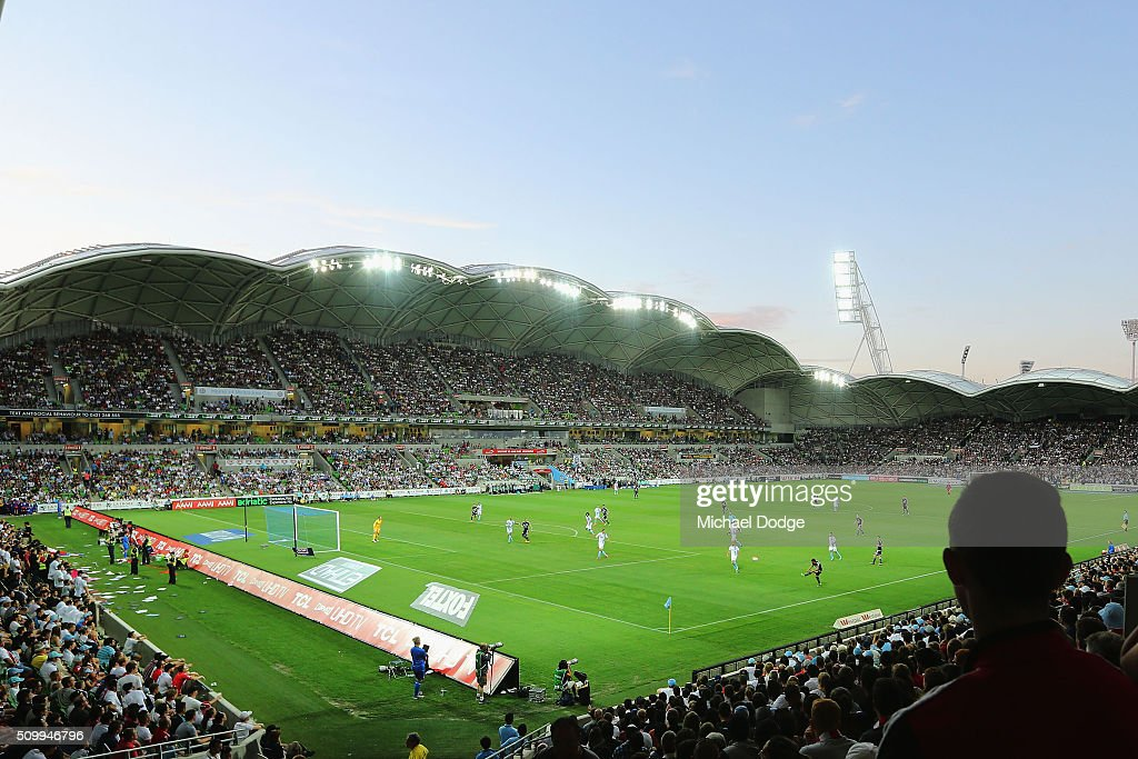 A general view is seen during the round 19 A-League match between Melbourne City FC and Melbourne Victory at AAMI Park on February 13, 2016 in Melbourne, Australia.