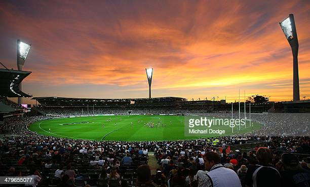 A general view is seen during the round one AFL match between the Geelong Cats and the Adelaide Crows at Skilled Stadium on March 20 2014 in...