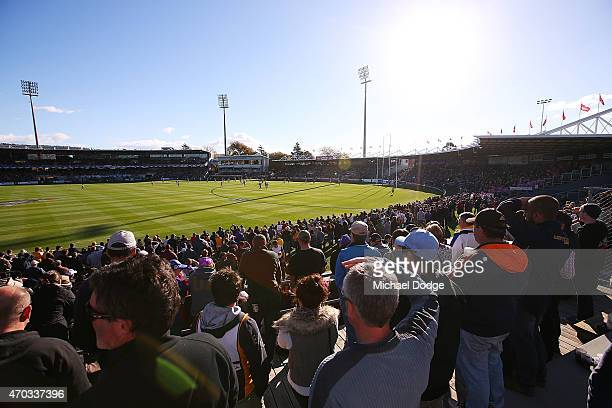 A general view is seen during the round three AFL match between the Hawthorn Hawks and the Western Bulldogs at Aurora Stadium on April 19 2015 in...