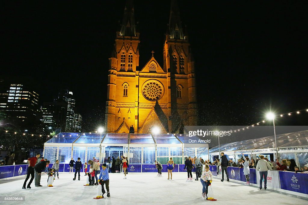 A general view is seen during the Sydney Winter Festival launch at St Mary's Cathedral on June 29, 2016 in Sydney, Australia.