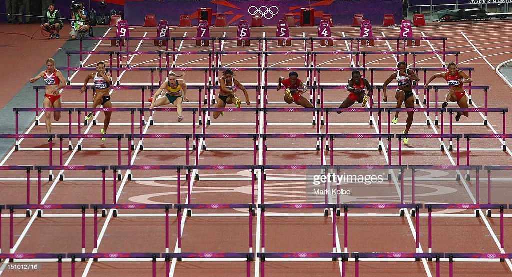 A general view is seen during the Women's 100m Hurdles Final on Day 11 of the London 2012 Olympic Games at Olympic Stadium on August 7, 2012 in London, England.
