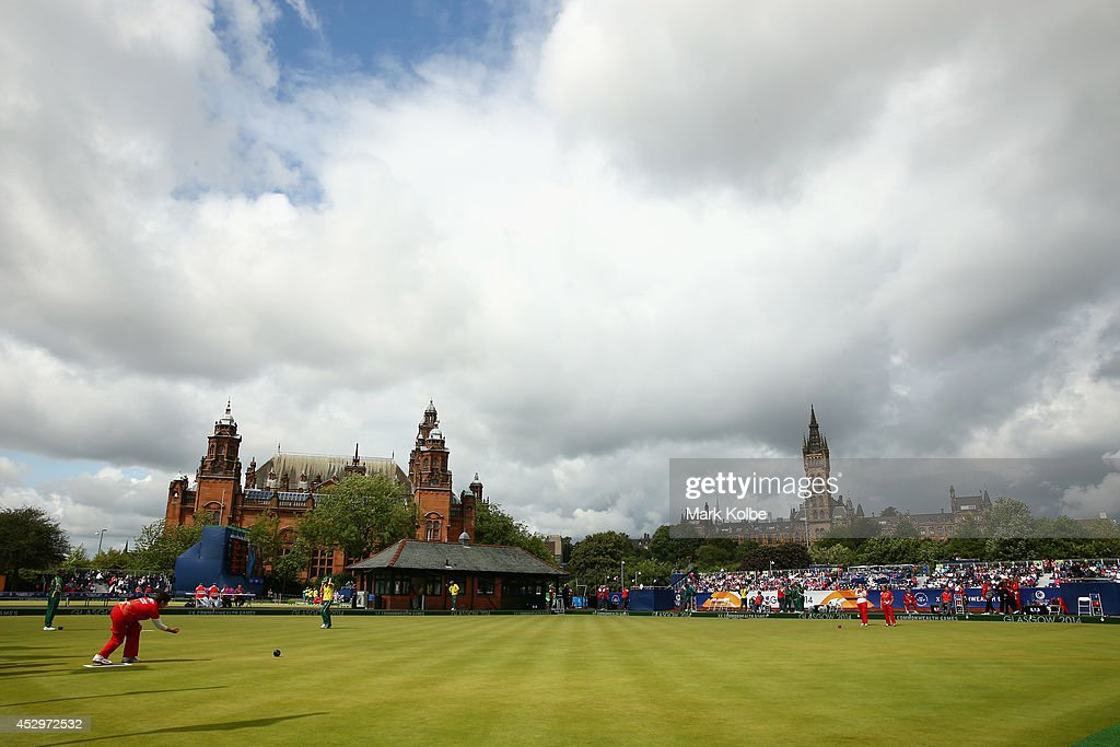 A general view is seen during the women's triples semi-final match between England and Wales at Kelvingrove Lawn Bowls Centre during day eight of the Glasgow 2014 Commonwealth Games on July 31, 2014 in Glasgow, United Kingdom.