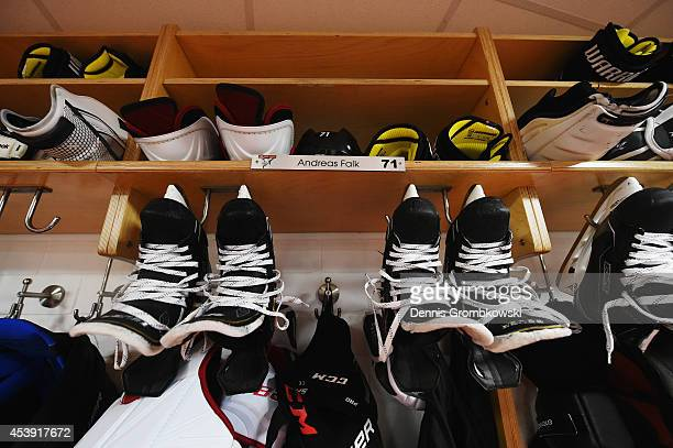 A general view is seen in the locker room of Koelner Haie after the Champions Hockey League group stage game between Koelner Haie and HC Kosice on...