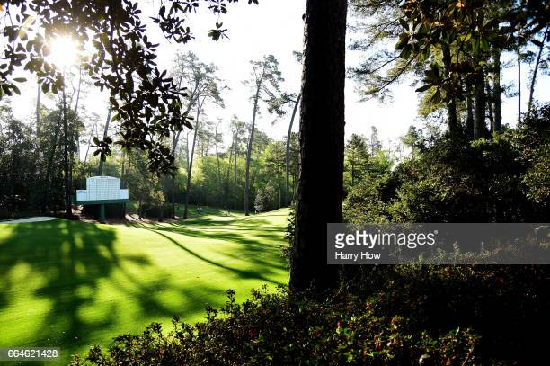 A general view is seen near the tenth hole during a practice round prior to the start of the 2017 Masters Tournament at Augusta National Golf Club on...