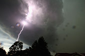 A general view is seen of a lightning strike as a severe storm hits Sydney on October 13 2014 in Sydney Australia