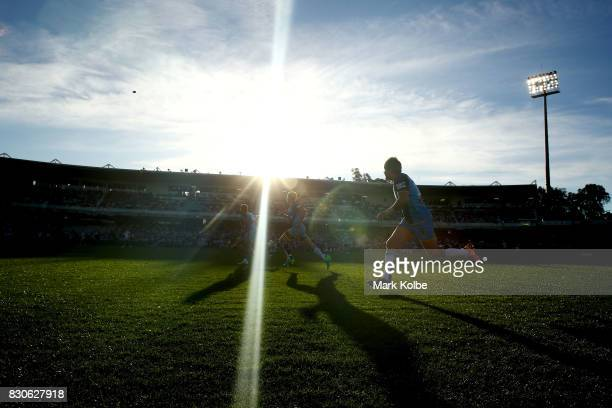 A general view is seen of a restart during the round 23 NRL match between the St George Illawarra Dragons and the Gold Coast Titans at UOW Jubilee...