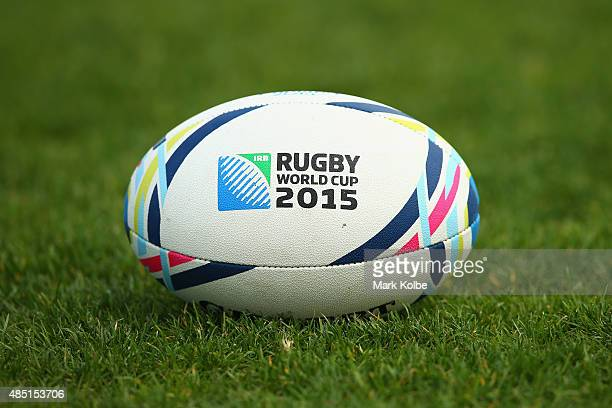 A general view is seen of a Rugby World Cup 2015 ball during an Australian Wallabies training session at the Tramways Oval Moore Park on August 25...