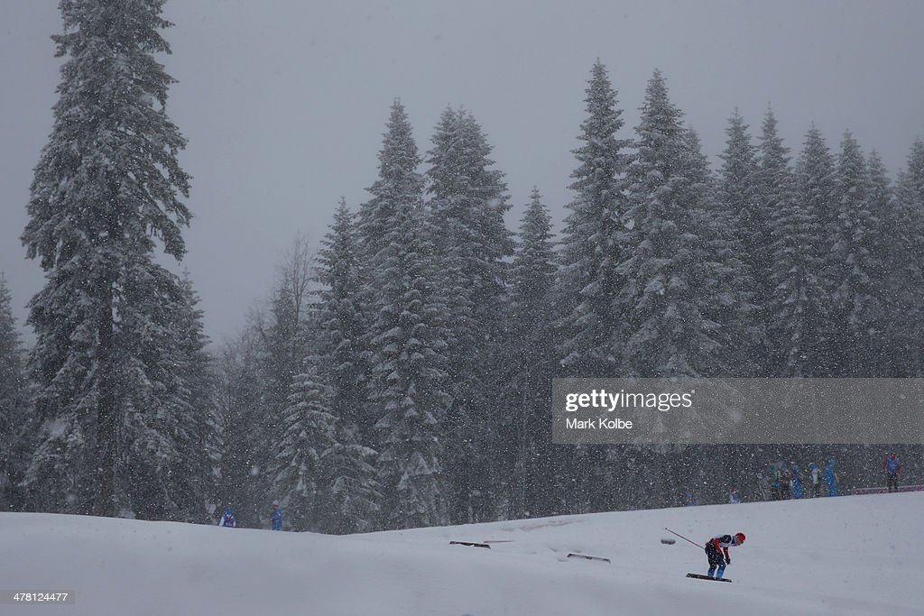 A general view is seen of action in the men's 1km sprint, standing cross-country during day five of Sochi 2014 Paralympic Winter Games at Laura Cross-country Ski & Biathlon Center on March 12, 2014 in Sochi, Russia.