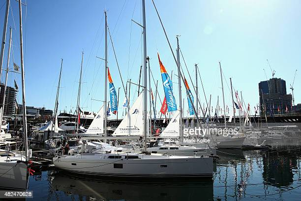 A general view is seen of boats on display at the International Boat Show at Cockle Bay Marina Darling Harbour and Sydney Exhibition Centre at Glebe...