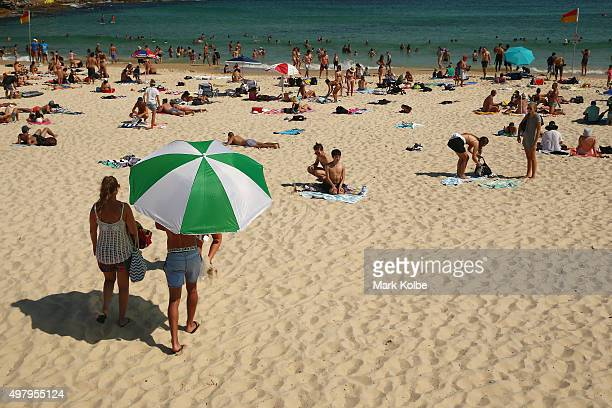 A general view is seen of Bondi beach as people escape the heat on November 20 2015 in Sydney Australia The East coast of Australia has has been...