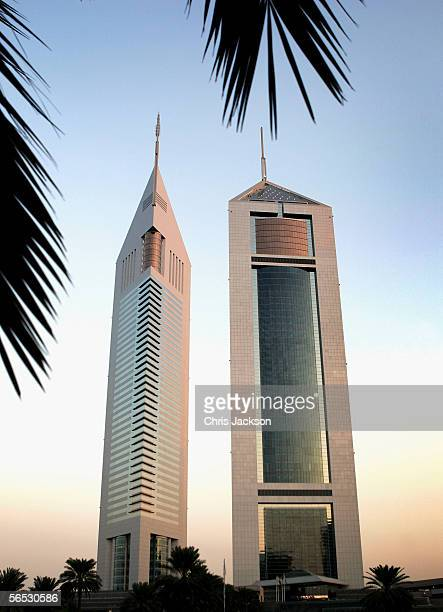 A general view is seen of Emirates Towers December 13 2005 in Dubai United Arab Emirates The two towers are connected by a 9000 sq metre retail...