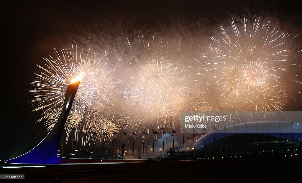 A general view is seen of fireworks over Fisht Olympic Stadium during the Opening Ceremony of the Sochi 2014 Paralympic Winter Games at Fisht Olympic Stadium on March 7, 2014 in Sochi, Russia.