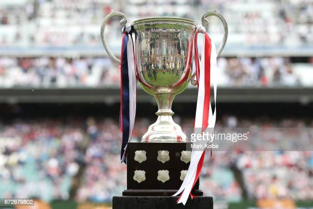 A general view is seen of the Anzac Day cup trophy before the round eight NRL match between the Sydney Roosters and the St George Illawarra Dragons...