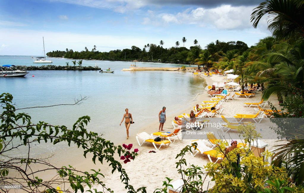 A general view is seen of the beach and Pigeon Point at the Cocoa Resort on the third day of a three day tour of Trinidad and Tobago on March 6 2008...