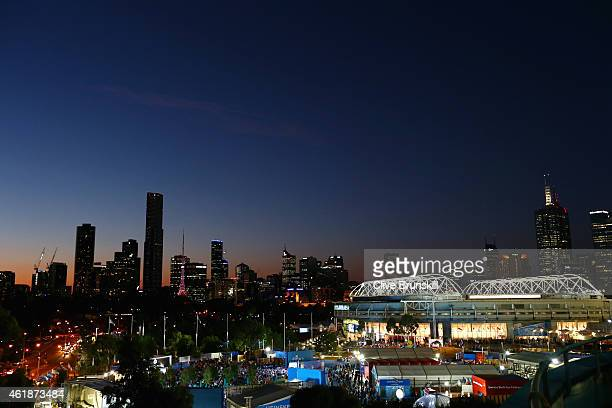 A general view is seen of the city skyline over Melbourne Park during day three of the 2015 Australian Open at Melbourne Park on January 21 2015 in...