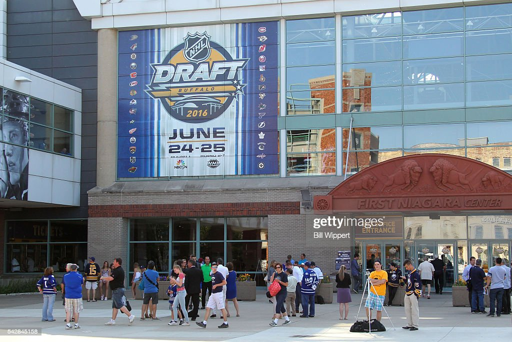A general view is seen of the exterior of First Niagara Center prior to round one of the 2016 NHL Draft at First Niagara Center on June 24, 2016 in Buffalo, New York.