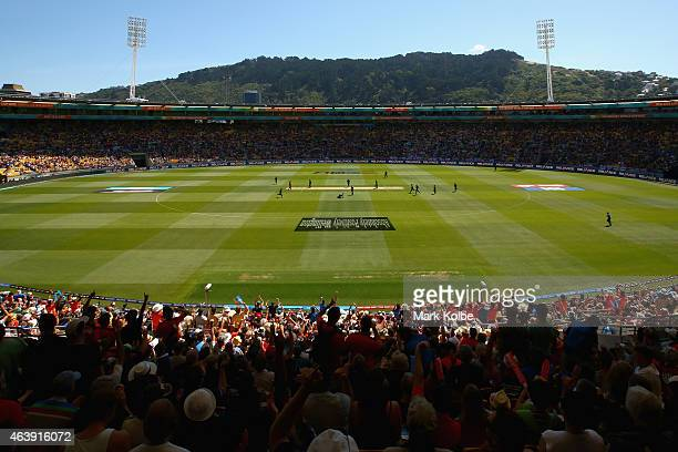 A general view is seen of the ground as New Zealand celebrate taking the wicket of Gary Ballance of England during the 2015 ICC Cricket World Cup...