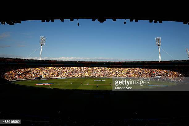 A general view is seen of the ground during the 2015 ICC Cricket World Cup match between England and New Zealand at Wellington Regional Stadium on...
