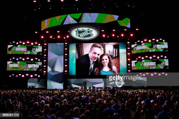A general view is seen of the introduction of Denna Laing during the 2017 NHL Awards Expansion Draft at TMobile Arena on June 21 2017 in Las Vegas...