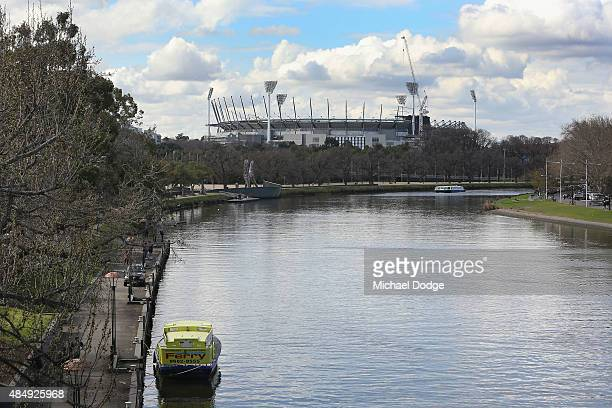 A general view is seen of the MCG from the StKilda Rd bridge during the round 21 AFL match between the Carlton Blues and the Melbourne Demons at...