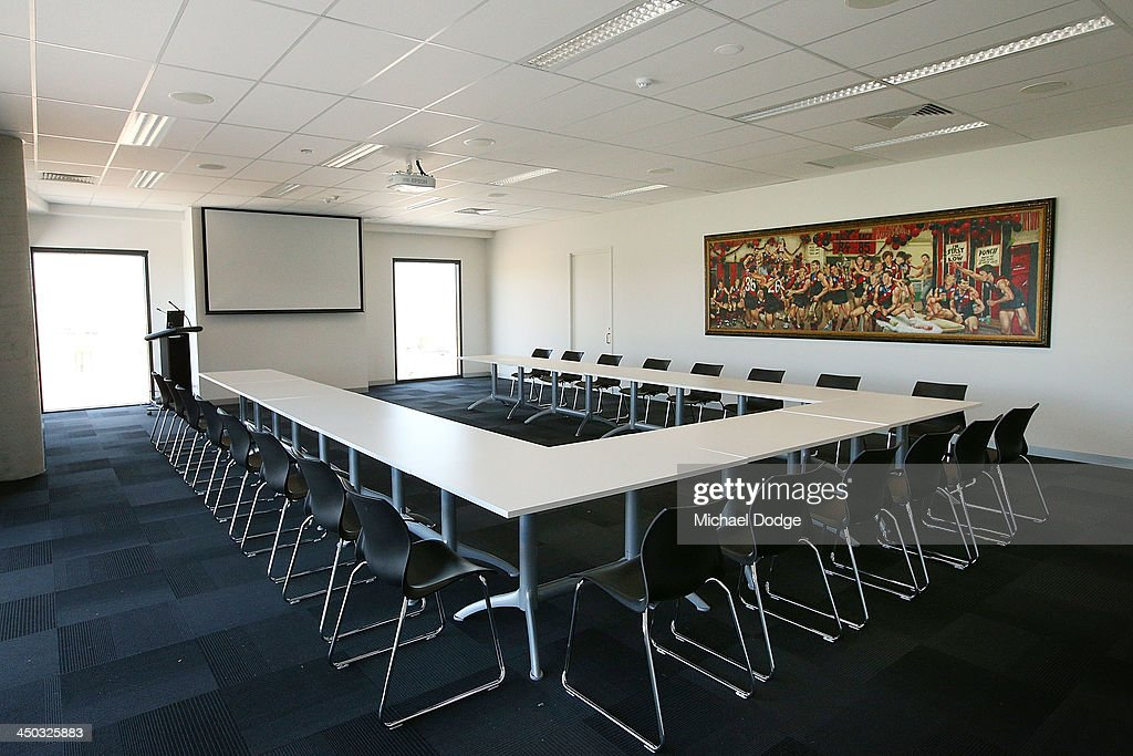 A general view is seen of the media conference room at the new Essendon Bombers AFL training facility at Tullamarine on November 18, 2013 in Melbourne, Australia.