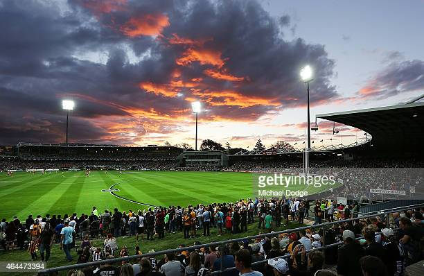 A general view is seen of the record crowd during the NAB Challenge AFL match between Hawthorn Hawks and the Collingwood Magpies at Aurora Stadium on...