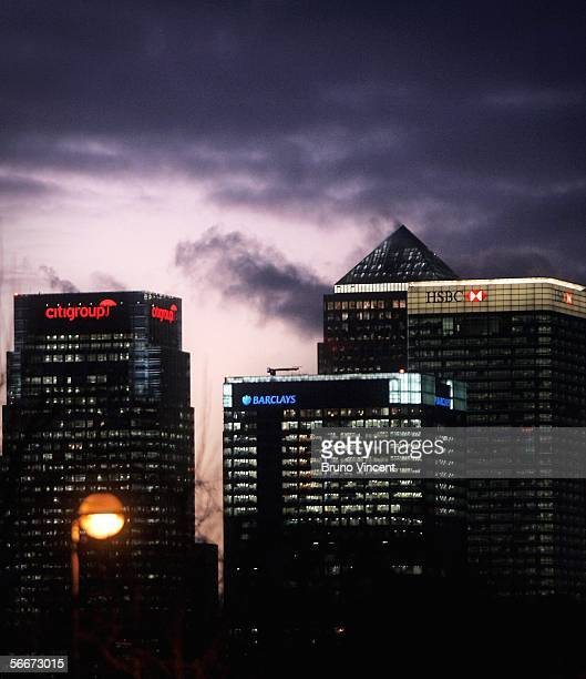 A general view is seen of the skyline of Canary Wharf on January 25 2006 in London