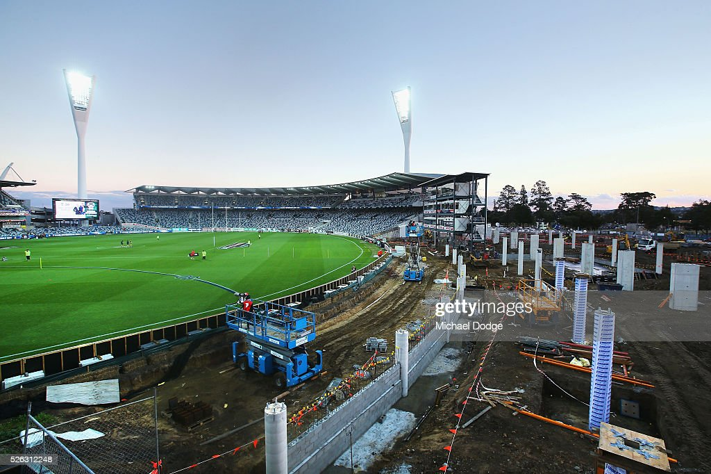 A general view is seen of the stand renovations during the round six AFL match between the Geelong Cats and the Gold Coast Suns at Simonds Stadium on April 30, 2016 in Geelong, Australia.
