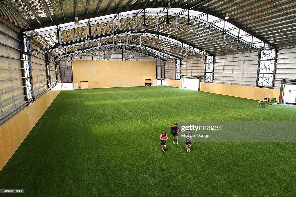 A general view is seen of the synthetic turf inside the hangar at the new Essendon Bombers AFL training facility at Tullamarine on November 18, 2013 in Melbourne, Australia.