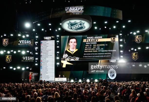 A general view is seen of the Vegas Golden Knights selecting MarcAndre Fleury during the 2017 NHL Awards Expansion Draft at TMobile Arena on June 21...