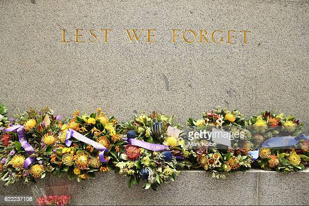 A general view is seen of wreaths and flowers after the Remembrance Day Service held at the Cenotaph Martin Place on November 11 2016 in Sydney...