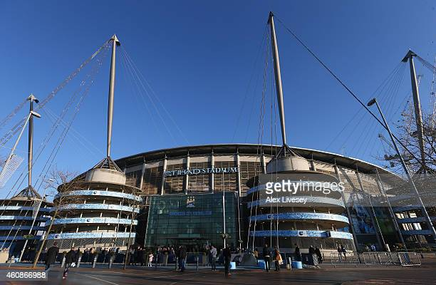 A general view is seen outside the Etihad Stadium prior to the Barclays Premier League match between Manchester City and Burnley at Etihad Stadium on...