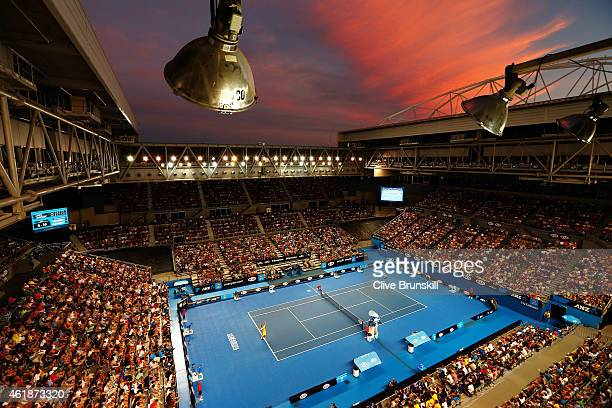 A general view is seen over Hisense Arena as Samuel Groth of Australia and Thanasi Kokkinakis of Australia play in their second round match during...